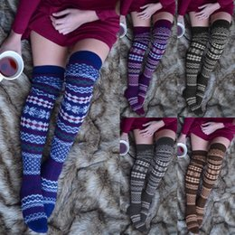 Le donne di lana del ginocchio calzini online-Women Over Knee Wool Knit Long Socks Winter Thigh-Highs Warm Socks Stocking Girl