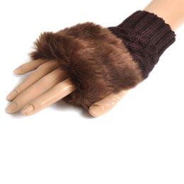 Pelzhandschuhe online-Outdoor Frauen Mädchen Gestrickte Faux Kaninchenfell Sporthandschuhe Handschuhe Winter Arm Länge Wärmer Outdoor Fingerlose Handschuhe bunte Großhandel 2019
