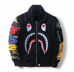 2019 tubarão bape m BAPE Adidas Supreme 2017 outono europeu e americano venda quente dos homens novos de beisebol terno jaqueta de tubarão tubarão bape m barato