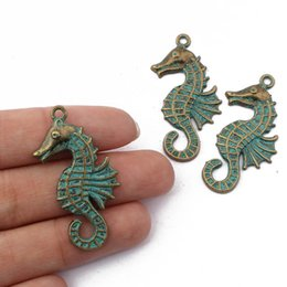 antique jewellery pendants Coupons - Wholesale 10Pcs Antique Greek Bronze Sea Horse Charms Pendants Beads For Jewellery Craft Making