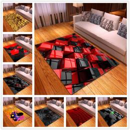 Tamaños de alfombras de la sala online-Alfombra de estilo nórdico de gran tamaño Franela Patrón geométrico Alfombras 3D para la sala de estar Área de dormitorio Alfombras Mesa de centro Alfombras antideslizantes