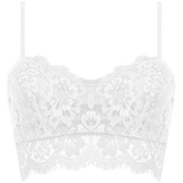 ae44e08ecd 6Colors Solid Lace Floral Unpadded Bralette Bra Bustier Crop-Tops Cami Tank  S-XL