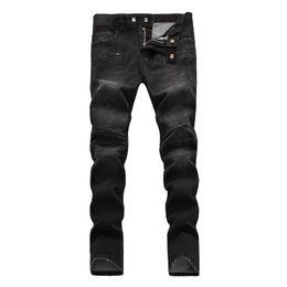 2019 pantaloni caldi neri caldi hot 2019 Uomo strappato jeans strappati denim nero Cotone moda Stretto primavera autunno pantaloni da uomo A1477 PHILIPP PLEIN PHILIPP PLEIN DSQ2 D2 pantaloni caldi neri caldi economici