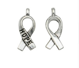 2c1573418cd 200pcs lot Ancient Silver Hope Cancer Ribbon Alloy Charms Pendants For diy  Jewelry Making findings 19x8mm