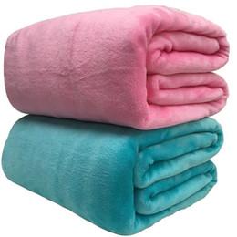 colchas azuis claras Desconto Super macio Coral velo 220 gsm Light Weight Rosa Azul sólido da pele do falso vison Jogue cobrir sofá Colcha de flanela cobertores