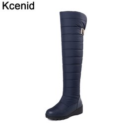 2c6e5a7fb12 Kcenid Plus size 35-44 keep warm snow boots wedge over the knee boots thigh  high platform 2018 fashion women winter shoes