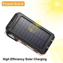 carregador de bateria huawei Desconto Impermeável carregador portátil LED powerbank bateria externa QI 3.0 Solar Power Bank 20000mAh para Xiaomi Huawei Iphone Poverbank