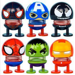 Auto di giocattolo di novità online-Avengers Scuotere la testa Doll 6 Styles Decorazione auto in PVC Testa oscillante Robot Novità Giocattoli divertenti Favore di partito OOA7024