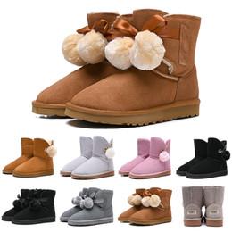 pajarita para mujer Rebajas UGG Diseñador de moda de lujo de las mujeres botas WGG tobillo rodilla Australia botines de nieve Bailey Hairball Ladies Bow Tie Womens Winter Boot envío gratis