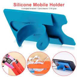 Support de téléphone touche u en Ligne-couverture en silicone tactile U Type de carte Bandage Support téléphone Support à stent Lazy universel pour téléphone mobile