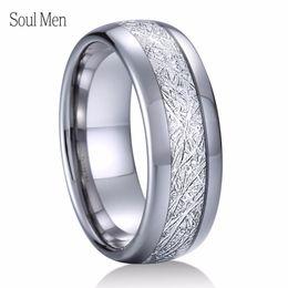 2019 anel de carboneto de tungstênio tamanho 13 8mm de Metal De Prata de Carboneto De Tungstênio Anel Com Meteorito Inlay Brilhante Acabamento Domed Simples Anel De Casamento Para Homens Tamanho 8 A 13 J190715 desconto anel de carboneto de tungstênio tamanho 13