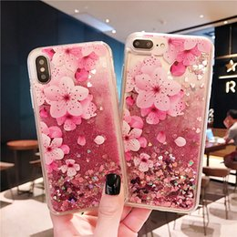 bling flowers wholesale Coupons - For Samsung S10 S10 Plus S10E Quicksand Case Luxury Liquid Shiny Bling Flower Case For Iphone XS Max XR Glitter Case