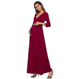 Vestito da donna Sexy Abiti da collo a V Autunno lungo Incinta Infermieristica Vestito da maternità solido Abiti da festa da