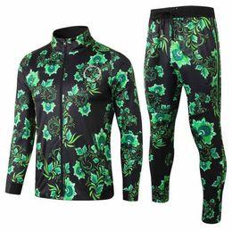 Штаны зеленого трикотажа онлайн-Спортивный костюм зеленый цветок с длинным рукавом футбольная куртка 18-19 длинная молния STARBOY трикотажные изделия окоча футбол комплект тренировочные брюки