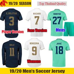 Un jugador verdadero online-19 20 real madrid camiseta de fútbol HAZARD 2019 2020 MODRIC BENZEMA camiseta de fútbol BALE 2019 2020 JOVIC Uniformes MENDY Ventiladores y jugador versión camiseta