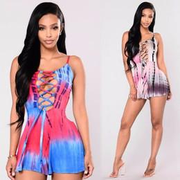d7ba27e3288 wholesale crochet rompers Promo Codes - 2018 summer sexy women crochet mesh  bodysuit Bandage print rompers