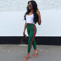 2019 женские дизайнерские повседневные брюки модные женские тонкие красные полосатые брюки карандаш высокого качества женские повседневные узкие брюки зеленый черный от