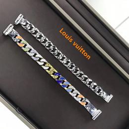 braccialetti d'argento d'oro per gli uomini disegni Sconti marchio placcato oro 18K argento placcato cubani Charm Bracelet larghezza di alta qualità di design di lusso uomini gioielli bracciali Louis l v