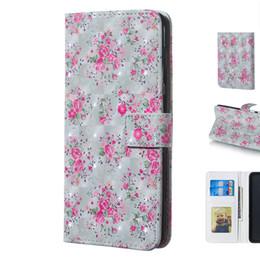 Красивая 3D Трехмерная Роза Цветочный Дизайн Мобильного Телефона Защитная Крышка Чехол с Слот Для Карты Кошелек Фоторамка от