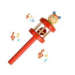 Manos temblando dibujos animados online-Marioneta de dibujos animados Bebé Sonajeros De madera Música Novedad Mano Sacudir la campana Anillo Aprendizaje temprano Sonajeros juguetes