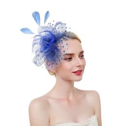 Flores de tul Sombreros con punto Sombreros de boda de tul 2019 Accesorios para el cabello de moda Plumas Mujeres Fascinators jaula de pájaros desde fabricantes