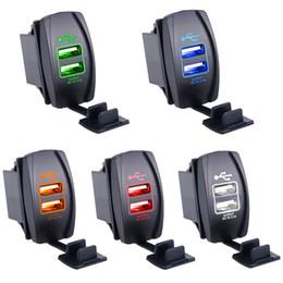 Porta del caricatore del usb del motociclo online-Caricabatteria doppio USB impermeabile per auto 2 porte per iPhone Samsung