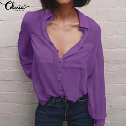 blusa de solapa blusa suelta tops Rebajas 2019 moda mujer blusas de solapa de manga larga casual suelta botones abajo camisas de la oficina de gasa sólido mujer tops más tamaño blusas