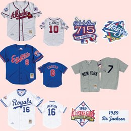 nuove città di jersey Sconti Kansas City BO JACKSON Royals 1989 Jersey Montreal Expos 1992 Gary Carter Braves # 10 Chipper Jones New York Mickey Mantle Throwbacks Jersey