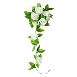 KSFS1 Pc Artificial Rose Flor Ratán Verde Hoja Guirnalda Vine Home Wall Party (Blanco + Verde) desde fabricantes