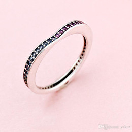 quilate diamante 18k Rebajas NUEVO Color CZ Diamond Heart RING Set Gift Caja original para Pandora 925 Sterling Silver Fashion Wedding Rings para mujeres