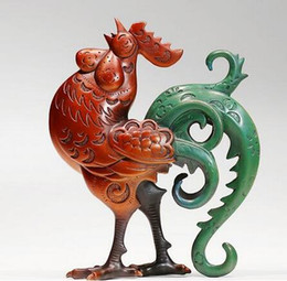 carving chicken Promo Codes - figure statues sculpture for home modern Old Antique copper Statue Money chicken Roosters Sculpture