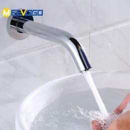 Sensore a parete online-MEEVOGO Sensor rubinetto della stanza da bagno montato automatici Mani Touchless Sensor Tap Bacino Rubinetti Lavello Miscelatore freddo caldo SLTC707