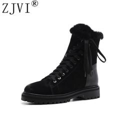 botas negras planas del tobillo del negro de las señoras Rebajas ZJVI mujer gamuza piel de cuero genuino Botas de nieve para mujer Plataforma de invierno botines zapatos para mujer zapatos negros Mujer plana warterproof