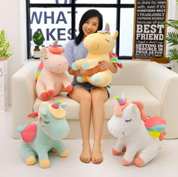 2019 almohada unicornio Gift1 Cartoon Lying Unicorn Plush Toy Soft Doll Cute 40cm angel Peluche Animal Unicorn Cuddle Aplacarse Sleeping Horse Pillow Gift 25cm rebajas almohada unicornio