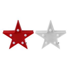 Luci di marcia online-3D Marquee Stars lampada da tavolo 5 LED Battery Operated in camera per bambini Night Light Decor L15