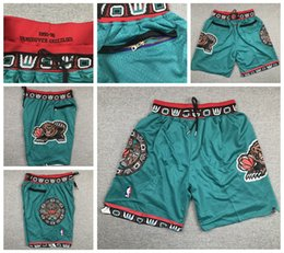 maglie lebron a buon mercato Sconti Proprio Don Mens MemphisGrizzliesnba 1995-1996 Shorts Jr Morant Bibby autentico cucito Retro Pantaloni Classic Gym ricamato Pantaloncini