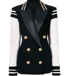 Casaco jaqueta novo on-line-2019 Europa e nos Estados Unidos primavera novo fio cuffs costura dupla fileira de metal leão fivela hit cor terno de couro jaqueta