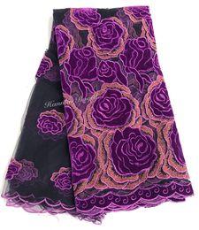 Costura de veludo on-line-Alta classe Francês tecido de Renda de veludo exclusivo Africano tecido de renda de Tule Africano pano de costura de vestuário 5 jardas / pc