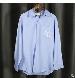diseños de bordado blusas Rebajas Nuevo diseño de los hombres de las mujeres de manga larga cuello redondo azul bordado logo bordado estilo boyfriend blusa camisa tops