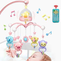caixas de música para brinquedos Desconto Berço Móvel Com Controle Remoto Caixa de Música Luz Da Noite Girar Recém-nascido Dormir Cama Brinquedos Infantis Chocalho Q190604