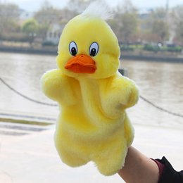 stuffed plush yellow duck Coupons - Stuffed Animals Animal Yellow Duck Shape Plush Hand Puppets Toys For Children Kids Soft Finger Puppets Toy Baby Plush Playing
