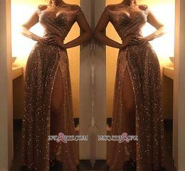 Off ombro vestido de noite dividir on-line-Dubai 2020 Sparkly Fora Do Ombro Vestidos De Noite De Lantejoulas De Ouro Árabe Sexy Frente Dividir Prom Vestidos De Festa Formais Desgaste Barato BC1409 Robe De Soir