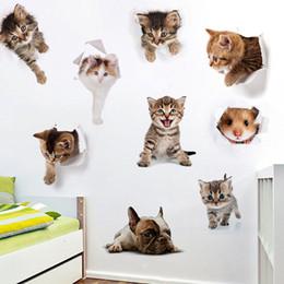 статические настенные наклейки Скидка 3D кошки стены наклейки туалет наклейки вида отверстие Vivid собаки ванная комната украшения животных виниловые наклейки искусство стикер стены плакат бесплатно DHL 953