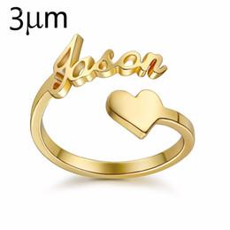 anillos de recuerdo Rebajas 3um corazón personalizado anillo en espiral anillo de nombre personalizado con corazón anillo de placa de identificación personalizado para pareja amante regalo de recuerdo de graduación j190627
