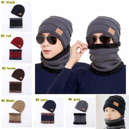 теплый шарф Скидка на открытом воздухе мужская зимняя шапка шарф комплект сплошной цвет теплая шапка шарфы зимние аксессуары шапки шарф 2 шт. LJJM2371