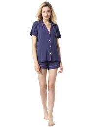 Pijamas azules online-Pijamas Comfy Modal Home Wear de mujer de manga corta Tops + Shorts Sólido Negro Gris Azul Pijamas para Mujeres Traje de dormir 2019 Nuevo