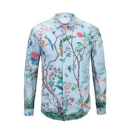 2019 chaude vendue mode hommes casual business tops shirt vacances manches longues 3d imprimé feuille tops hommes tops robe chemises ? partir de fabricateur