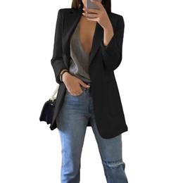 Anzüge online-Blazerjacke Frauenanzug im europäischen Stil 2019 Frühlingsberufsarbeitsstilklagefrauenblazer der langen Hülse outwear Blazer