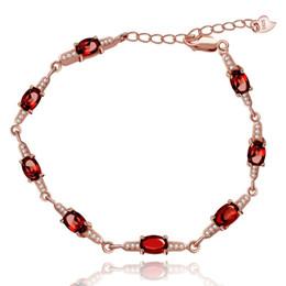 pulseira de pedra granada vermelha Desconto Almei Rose Gold Red Garnet Pulseira, Mulheres 925 Pulseira De Prata Esterlina, Pulseira De Pedra Vermelha Para Meninas Mulheres Fb053 Y19052301