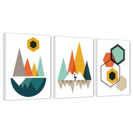 abstrakte sonnenaufgang gemälde Rabatt Abstrakte Leinwand Wandkunst Gemälde Sonnenaufgang und Sonnenuntergang Geometrische Kunstwerk Leinwand Bild für Schlafzimmer Wohnkultur